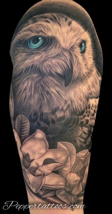 snowy owl tattoo snowy owl by pepper tattoonow