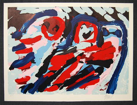 Apel Cople karel appel moving in a landscpe pencil signed