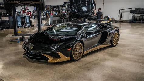 lamborghini gold and black black and gold lamborghini aventador s is one of the last