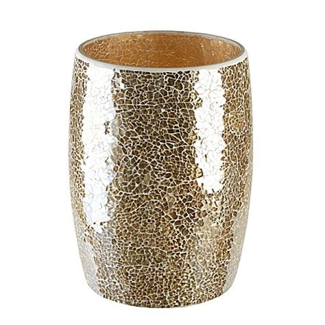 gold crackle bathroom accessories gold crackle mosaic glass wastebasket bed bath beyond