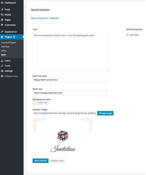 RSVP and Wedding Invitation WordPress Plugin by