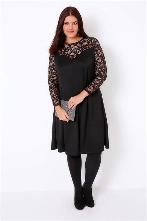 black lace swing dress black lace crepe mix swing dress with sweetheart