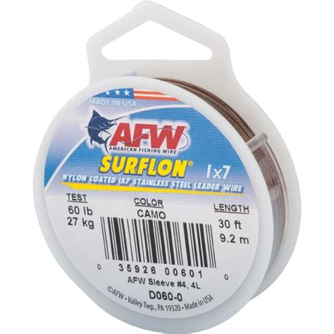 Ft Leader 1 american fishing wire surflon 60 lbs 30 ft leader wire
