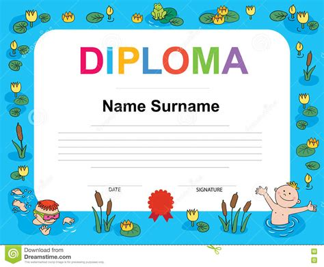 swimming award certificate template swimming award certificate template illustration