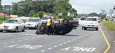 car crash leaves vehicle overturned  kanoelehua