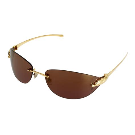 cartier rimless sunglasses pink lens gold frame www