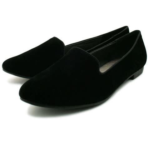 black flat loafers womens black suede style slipper flat pumps loafers shoes