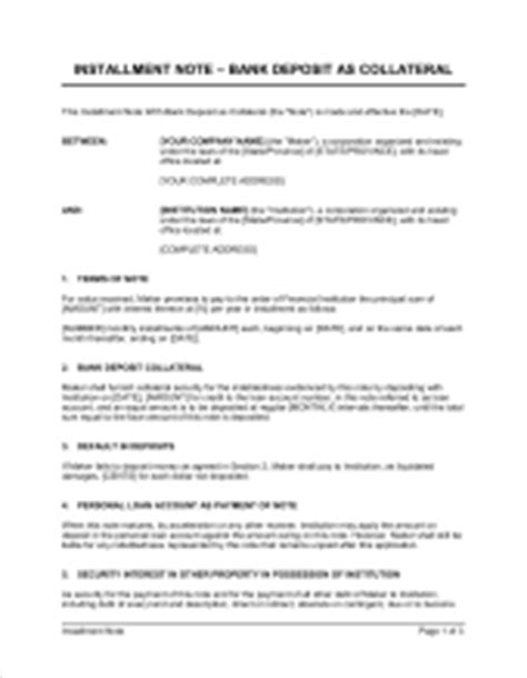 Collateral Credit Letter Installment Payment Agreement Template Sle Form Biztree