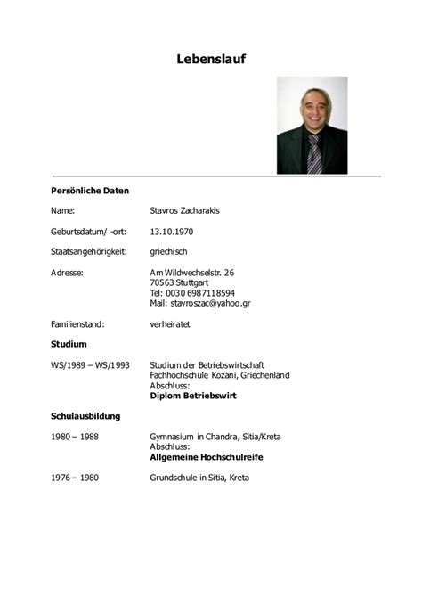 Lebenslauf Deutschland Aktuell Lebenslauf Zacharakis 2014