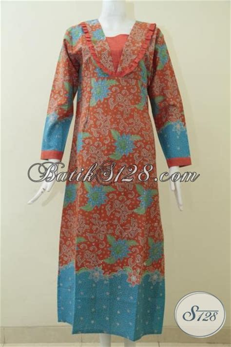 Pakaian Murah Gamis Motif Kombinasi S M L Xl 1 busana gamis keren dengan motif terkini warna kombinasi orange biru menambah kesan mewah dan