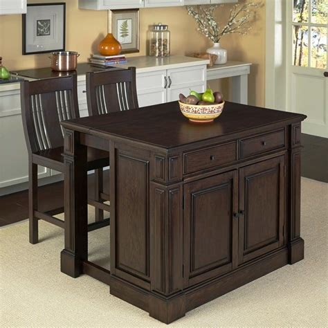 Black Kitchen Island With Stools Home Styles Prairie Home Island W Stools Black Kitchen