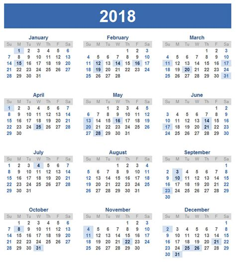 2018 Calendar Year New Year Calendar Calendar For New Year New Year