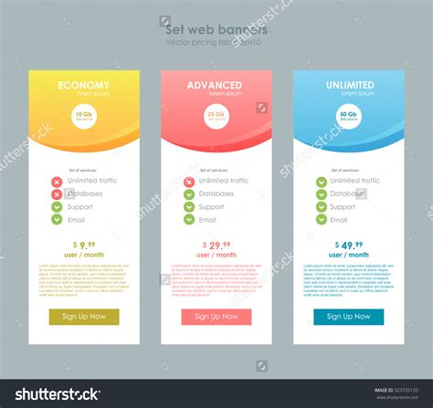 web price plan banners vector free download three tariffs interface site ui ux stock vector 323725133