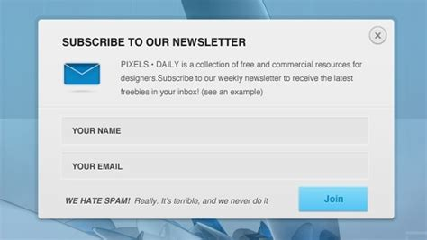 newsletter signup form template free vector graphic free photos free icons free
