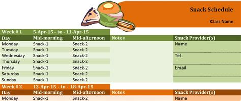 Sle Class Snack Schedule Template Formal Word Templates Snack Schedule Template