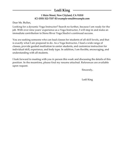 Leading Professional Yoga Instructor Cover Letter Examples