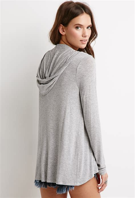 Hooded Open Front Cardigan forever 21 hooded open front cardigan in gray lyst