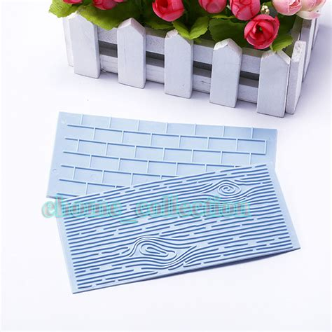 wood pattern on fondant 2pcs two pattern embossing mold wall brick wood grain
