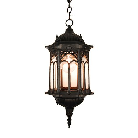 Patio Hanging Lights Etoplighting Rococo Collection Rubbed Matt Black Finish Exterior Outdoor Lantern Light Clear