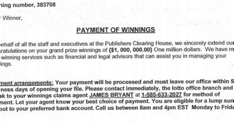 How Are You Notified If You Win Publishers Clearing House - cumberland police dept this letter from publisher s clearing house is a scam