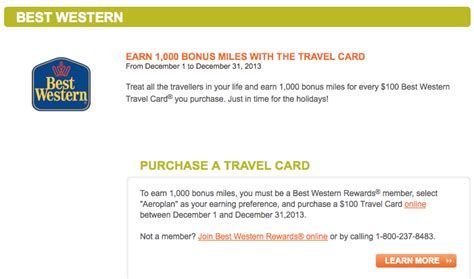 Air Miles Best Western Gift Card - earn up to 1 000 bonus aeroplan miles with every 100 best western travel card