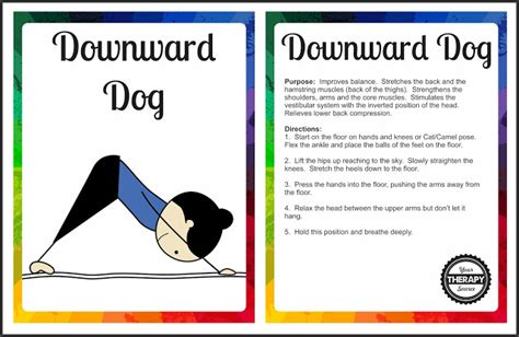 printable yoga flash cards yoga cards downward dog pose your therapy source