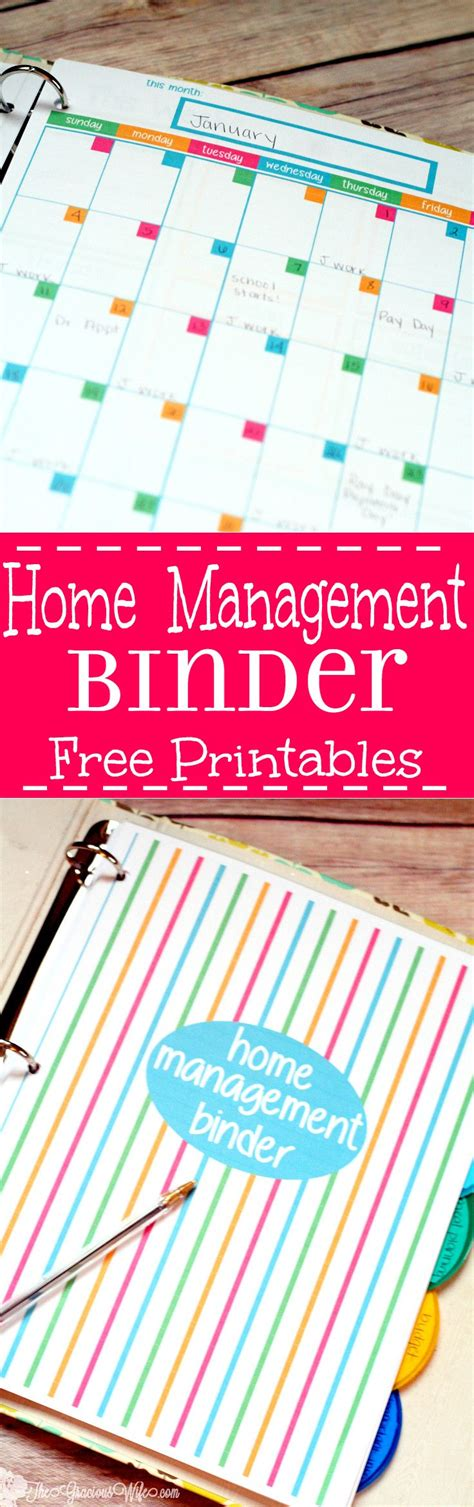 home management binder free printables the gracious