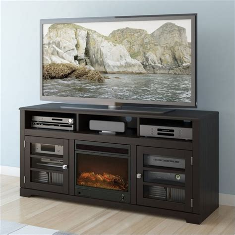 sonax west lake 60 quot fireplace tv stand in mocha black