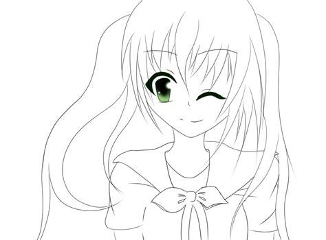 cute anime girl lineart by blacklegendzz on deviantart
