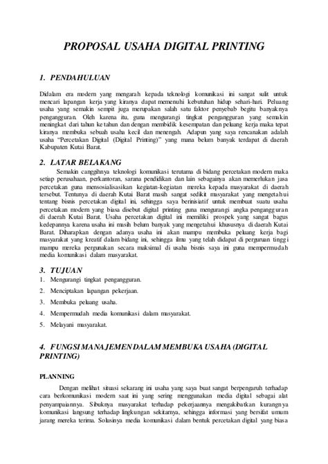 layout proposal bisnis contoh proposal usaha digital printing