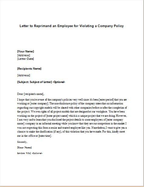 Explanation Letter Violating Company Policy Company Policy Reprimand Letter To An Employee Writeletter2