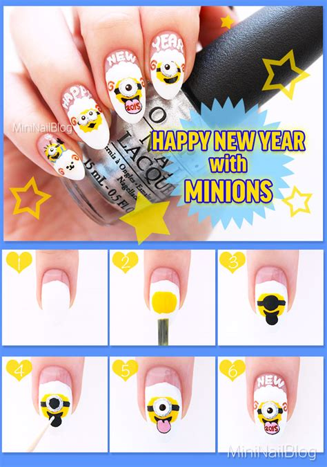 tutorial nail art minions happy new year with minions nailbees