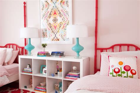 pink girls bedroom with ikea stockholm rug transitional pink and red girls bedrooms transitional girl s room
