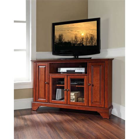 Tv Sharp Model Tabung crosley furniture lafayette 48 corner tv stand in black classic cherry or mahogany finish