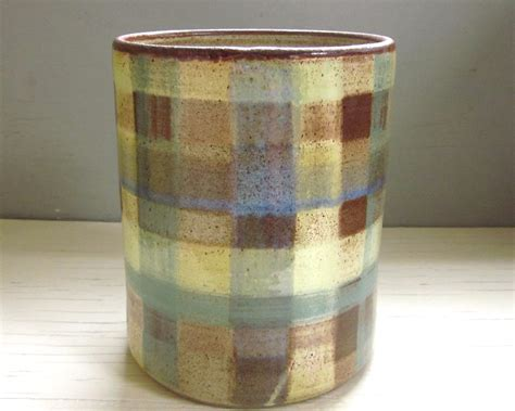 large plaid ceramic kitchen utensil holder spoon by