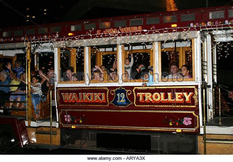 waikiki trolley hawaii stock photos waikiki trolley