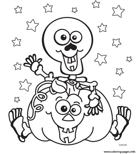 halloween skeleton pumpkin coloring pages printable