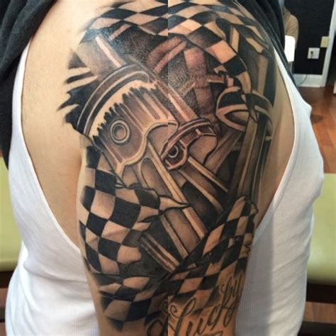 racing tattoos for men racing pistons on shoulder best ideas gallery