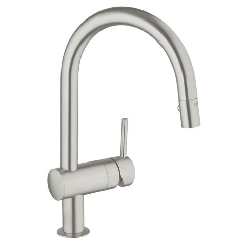 grohe minta kitchen faucet grohe minta single handle pull down sprayer kitchen faucet in supersteel infinityfinish 31378dc0