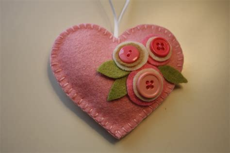 felt hearts pink felt ornament decoration button flowers