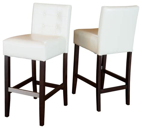 ivory leather bar stools gregory ivory leather back bar stool set of 2