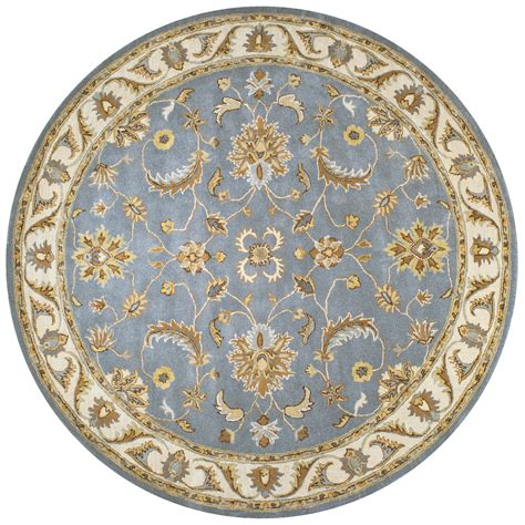 volare floral trellis pattern wool rug in blue