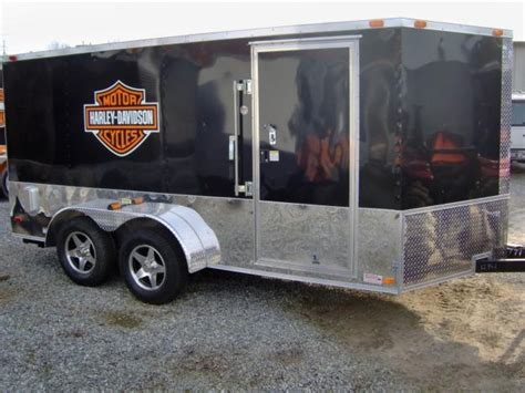 Harley Davidson Trailer Decals by 7x12 New Enclosed Cargo Motorcycle Trailer With Free