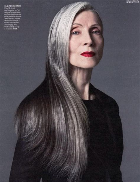 pic of 36 yr old woman with grey hair older models eveline hall amazing hair gray hair and