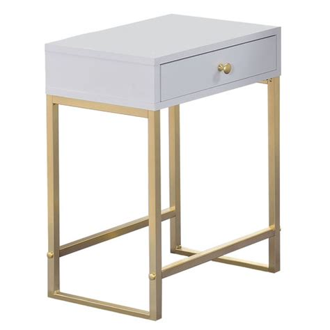 gold bedside table white gold grace bedside table temple webster