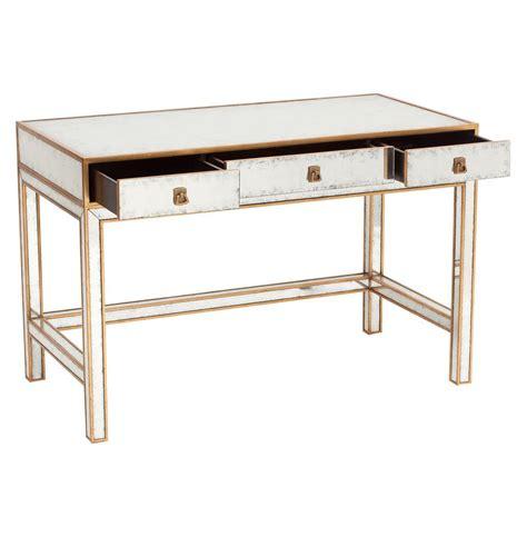 Gold Writing Desk by Sorvino Regency Silver Leaf Mirror Gold 3 Drawer