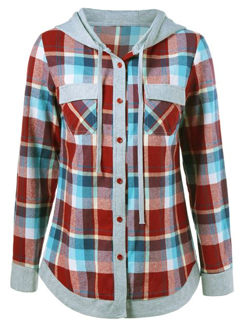 design checkered hoodie single breasted pockets design plaid hoodie in checked m