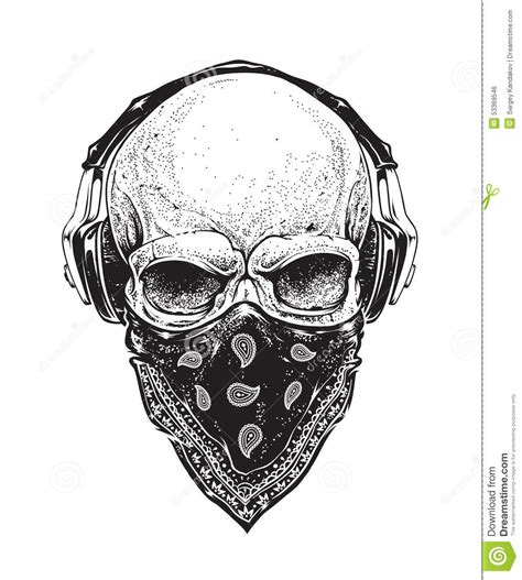 skull with headphones stock vector illustration of