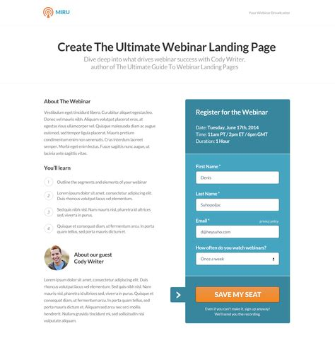 The Easiest Way To Build Publish And A B Test Landing Pages Without I T Webinar Landing Page Template