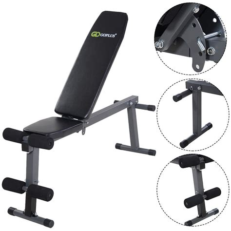 abs bench press goplus adjustable folding sit up ab incline abs bench flat fly weight press gym